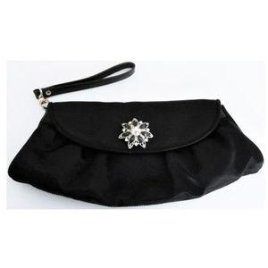 Evening Bag Black Upcycled Rhinestone Claps